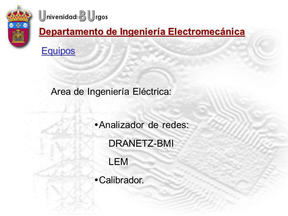 Equipos Area de Ingeniería Eléctrica: Analizador de redes: DRANETZ-BMI LEM Calibrador.