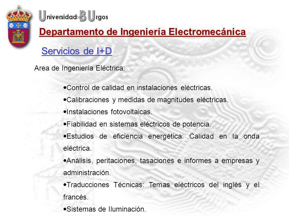 Servicios de I+D Area de Ingeniería Eléctrica: