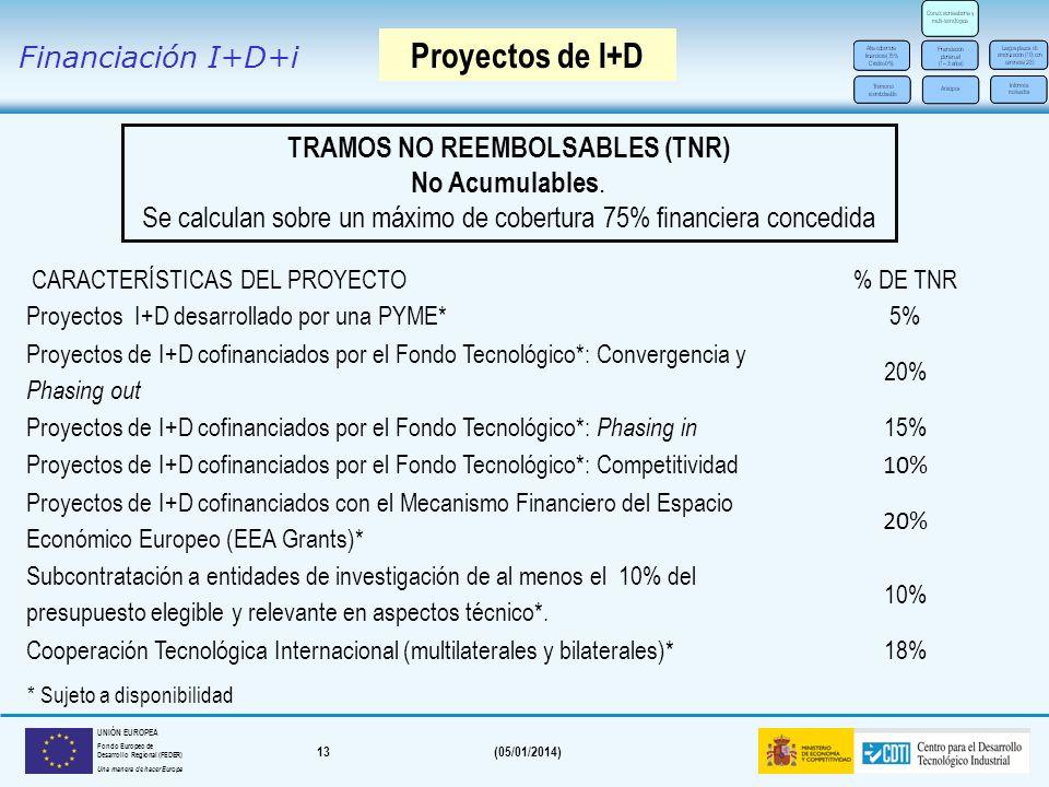 TRAMOS NO REEMBOLSABLES (TNR)