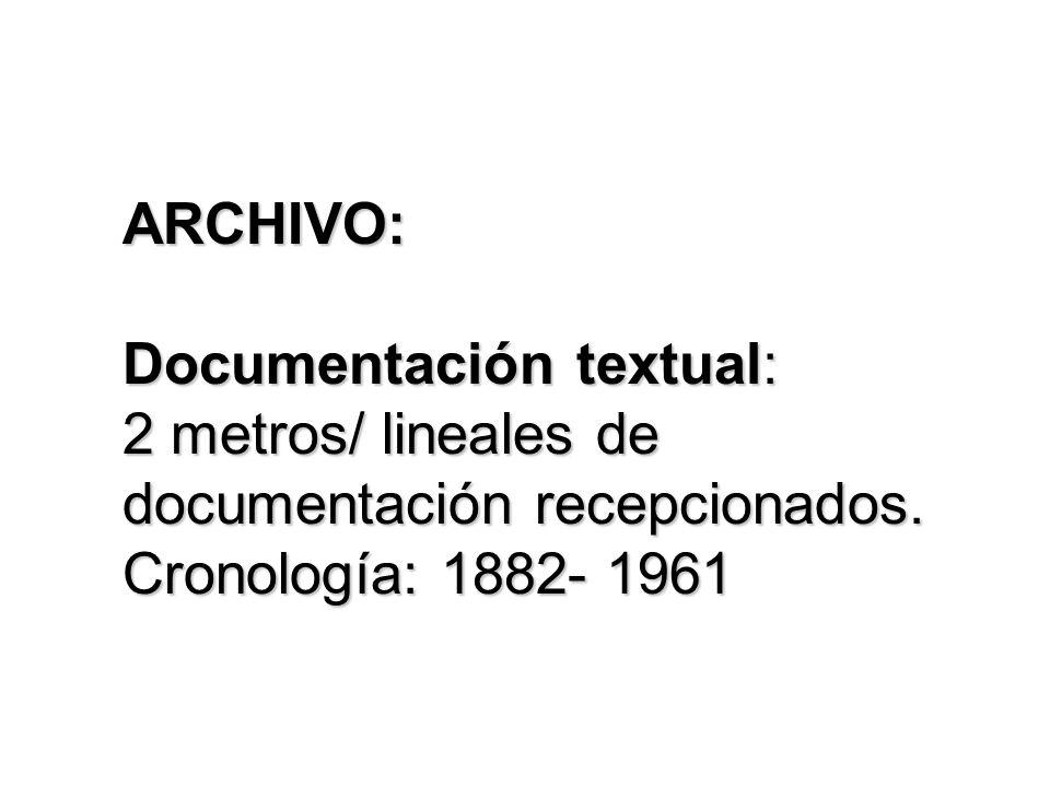 ARCHIVO: Documentación textual: 2 metros/ lineales de documentación recepcionados.