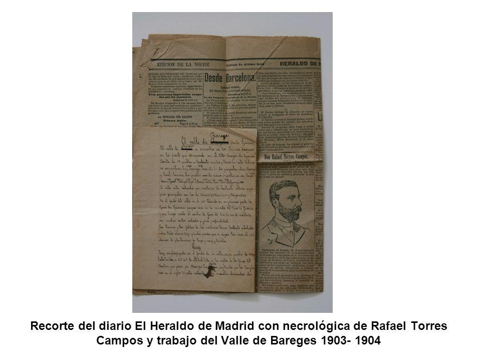 Recorte del diario El Heraldo de Madrid con necrológica de Rafael Torres Campos y trabajo del Valle de Bareges 1903- 1904