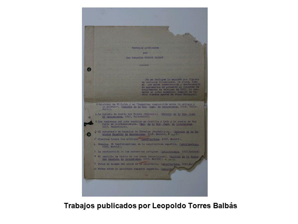 Trabajos publicados por Leopoldo Torres Balbás