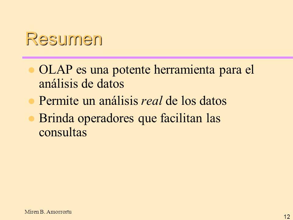 Resumen OLAP es una potente herramienta para el análisis de datos