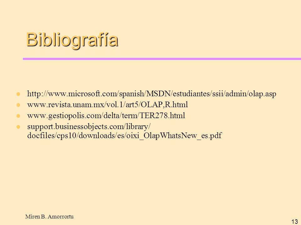 Bibliografía http://www.microsoft.com/spanish/MSDN/estudiantes/ssii/admin/olap.asp. www.revista.unam.mx/vol.1/art5/OLAP,R.html.