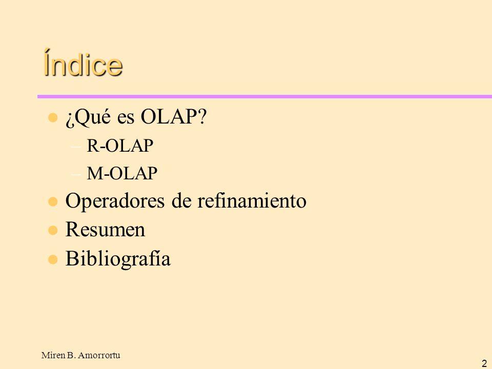 Índice ¿Qué es OLAP Operadores de refinamiento Resumen Bibliografía