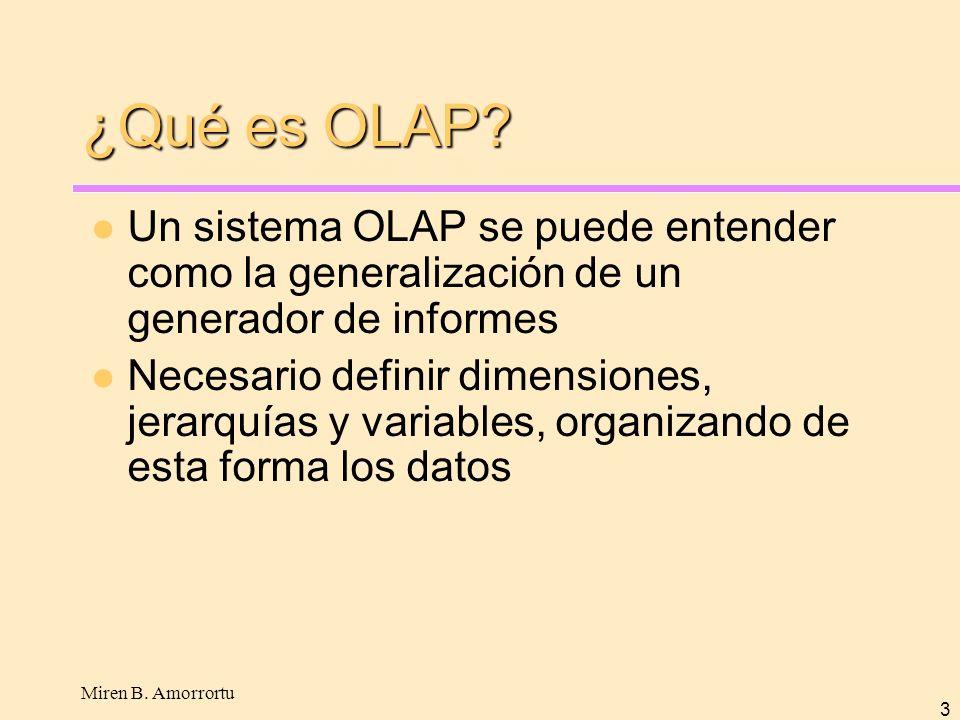 ¿Qué es OLAP Un sistema OLAP se puede entender como la generalización de un generador de informes.