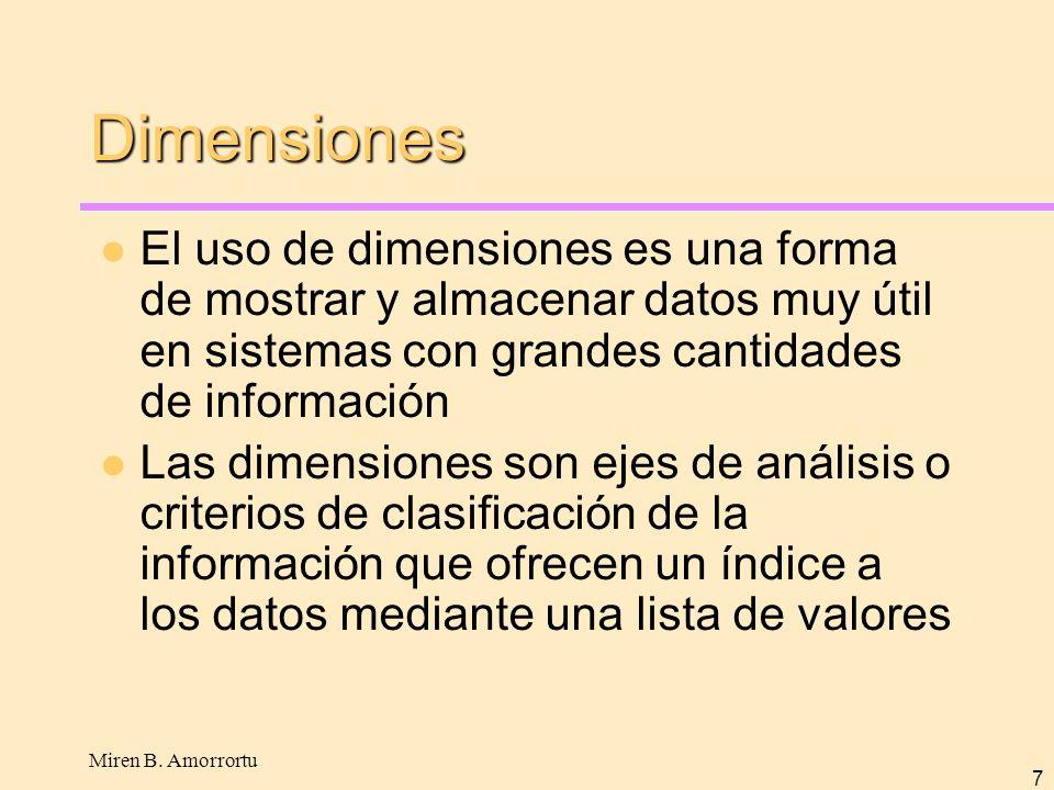 Dimensiones El uso de dimensiones es una forma de mostrar y almacenar datos muy útil en sistemas con grandes cantidades de información.