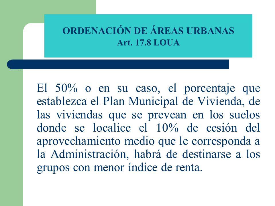 ORDENACIÓN DE ÁREAS URBANAS Art. 17.8 LOUA