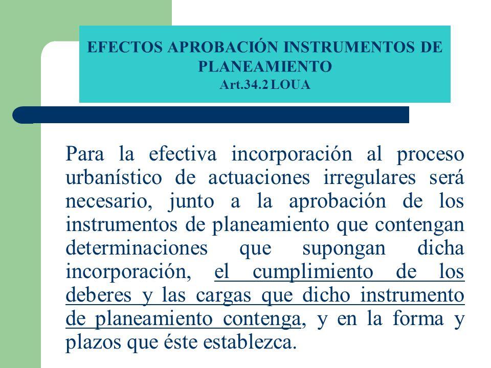 EFECTOS APROBACIÓN INSTRUMENTOS DE PLANEAMIENTO Art.34.2 LOUA