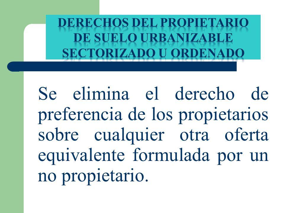 DERECHOS DEL PROPIETARIO DE SUELO URBANIZABLE SECTORIZADO U ORDENADO