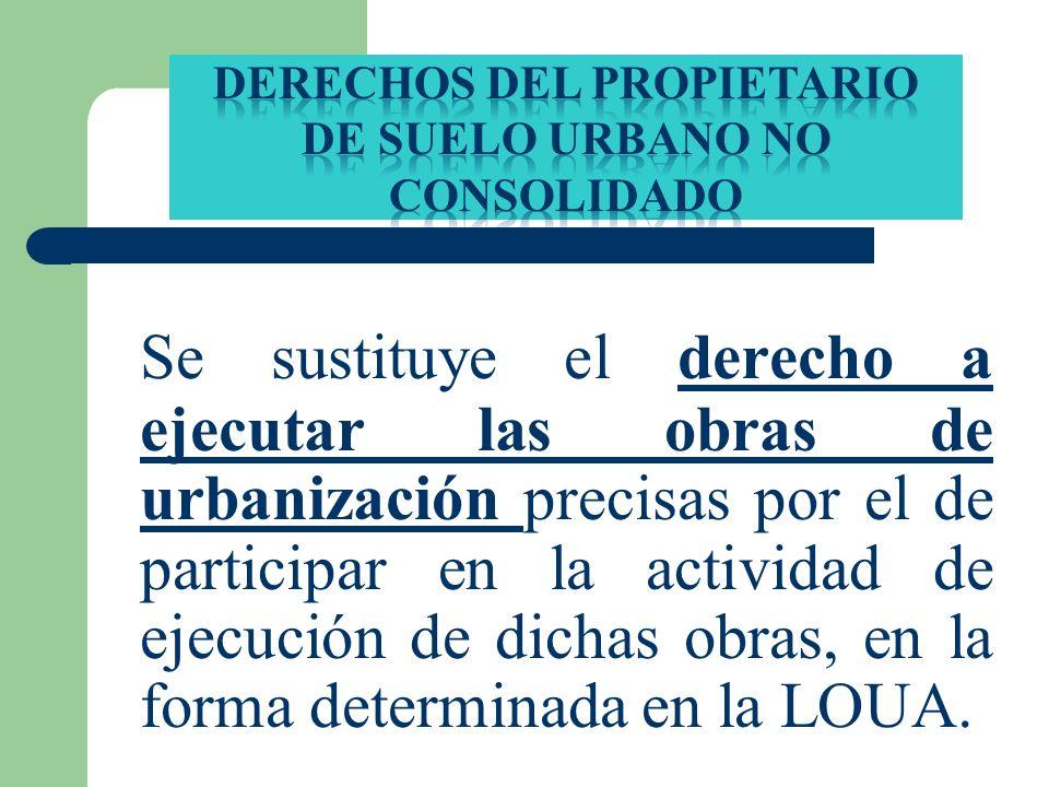 DERECHOS DEL PROPIETARIO DE SUELO URBANO No CONSOLIDADO