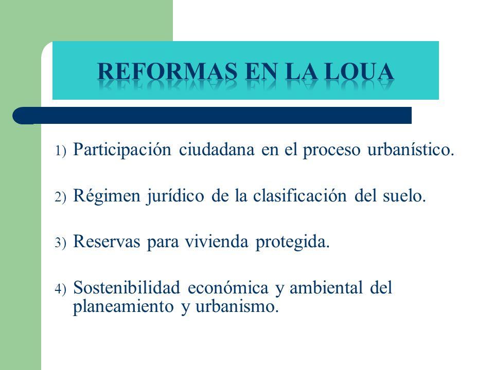 REFORMAS EN LA LOUA Participación ciudadana en el proceso urbanístico.