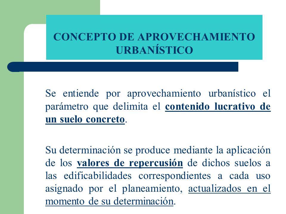 CONCEPTO DE APROVECHAMIENTO URBANÍSTICO