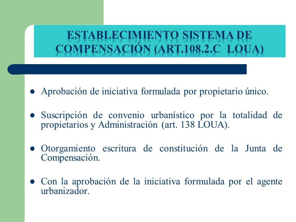 Establecimiento SISTEMA DE COMPENSACIÓN (art.108.2.c loua)