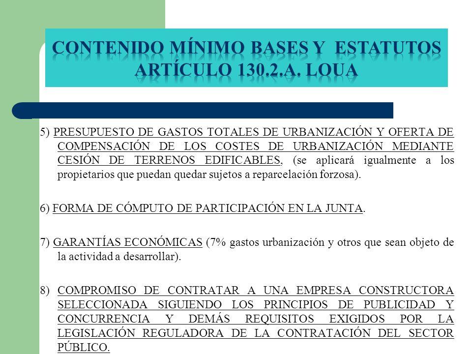 Contenido mínimo Bases y Estatutos Artículo 130.2.A. LOUA