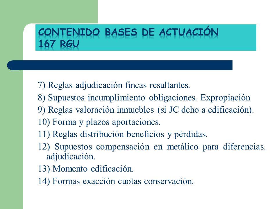 CONTENIDO BASES DE ACTUACIÓN 167 RGU