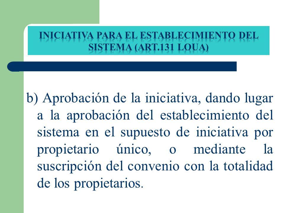 INICIATIVA PARA EL ESTABLECIMIENTO DEL SISTEMA (ART.131 loua)