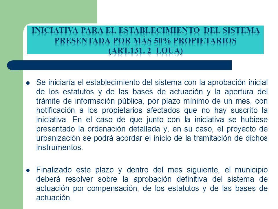 INICIATIVA PARA EL ESTABLECIMIENTO DEL SISTEMA PRESENTADA por más 50% propietarios (ART.131. 2 loua)