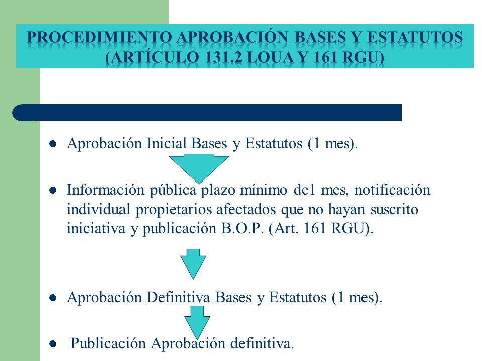 Procedimiento aprobación bases y estatutos (Artículo 131