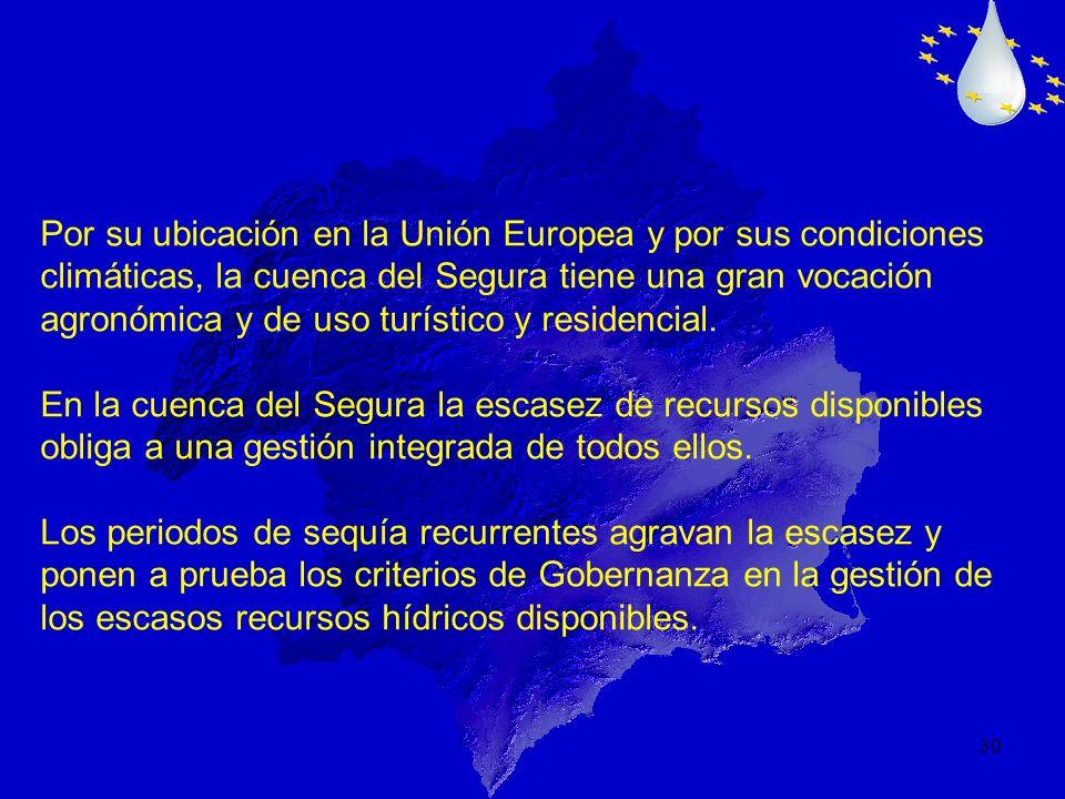 Por su ubicación en la Unión Europea y por sus condiciones climáticas, la cuenca del Segura tiene una gran vocación agronómica y de uso turístico y residencial.
