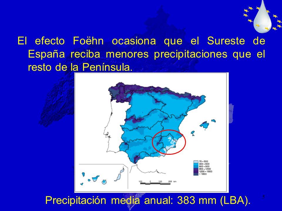 Precipitación media anual: 383 mm (LBA).