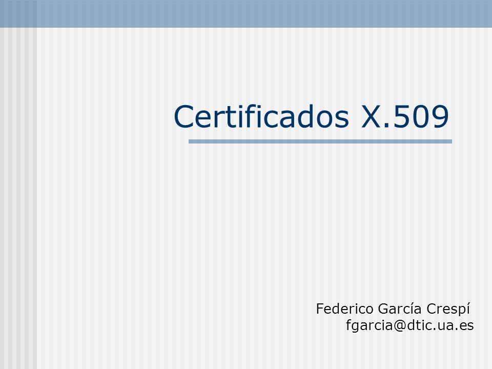 Certificados X.509 Federico García Crespí fgarcia@dtic.ua.es