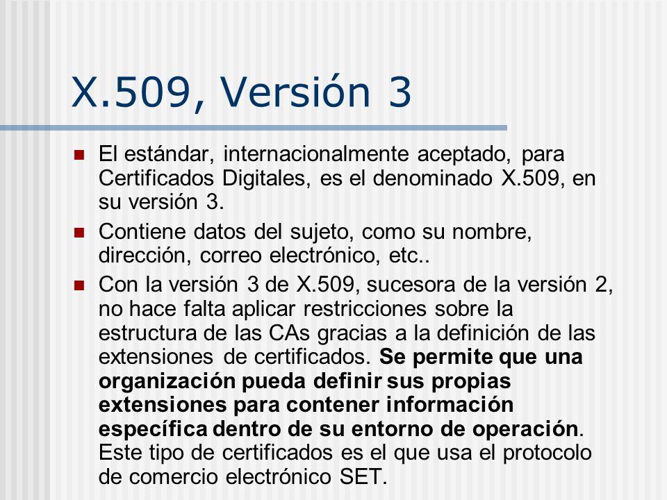 X.509, Versión 3 El estándar, internacionalmente aceptado, para Certificados Digitales, es el denominado X.509, en su versión 3.