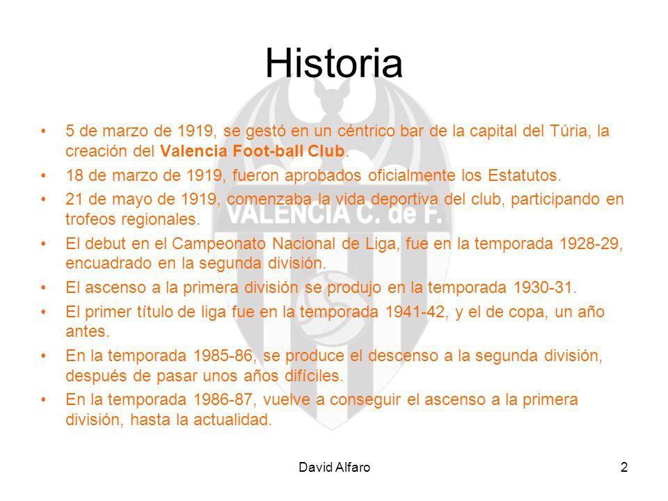 Historia 5 de marzo de 1919, se gestó en un céntrico bar de la capital del Túria, la creación del Valencia Foot-ball Club.
