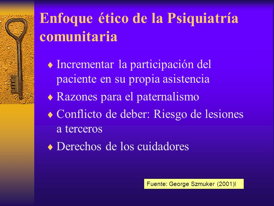 Enfoque ético de la Psiquiatría comunitaria