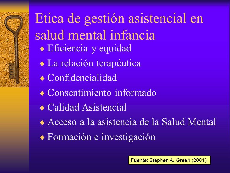 Etica de gestión asistencial en salud mental infancia