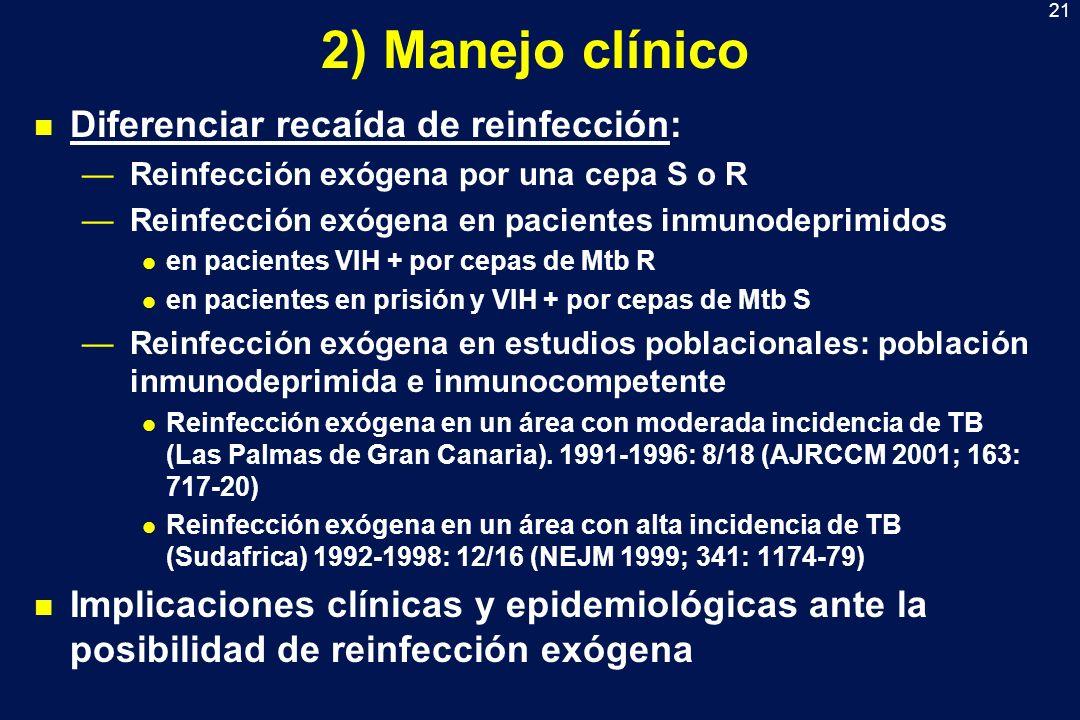 2) Manejo clínico Diferenciar recaída de reinfección: