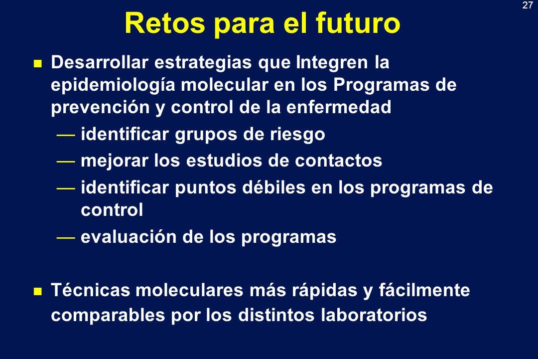 Retos para el futuro Desarrollar estrategias que Integren la epidemiología molecular en los Programas de prevención y control de la enfermedad.