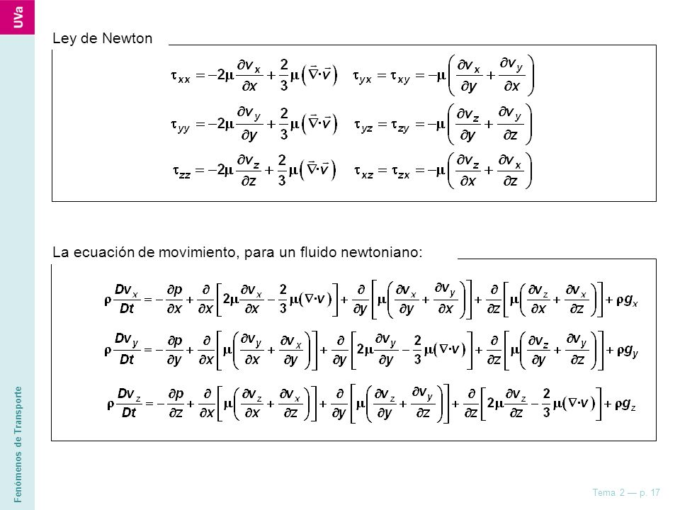Ley de Newton La ecuación de movimiento, para un fluido newtoniano: