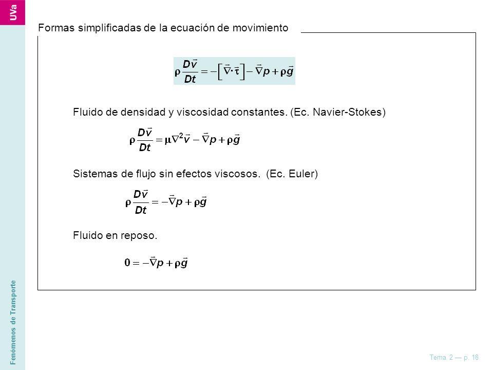 Formas simplificadas de la ecuación de movimiento