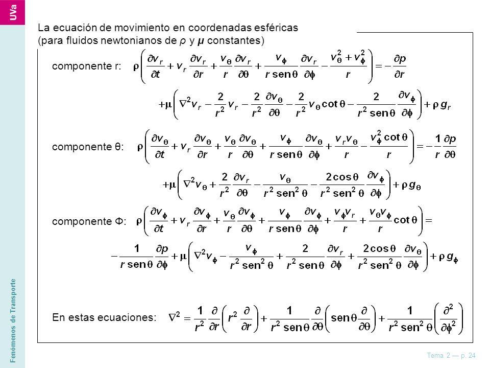 La ecuación de movimiento en coordenadas esféricas