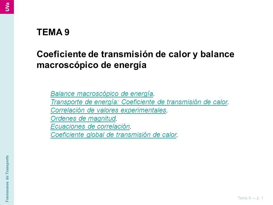 Coeficiente de transmisión de calor y balance macroscópico de energía