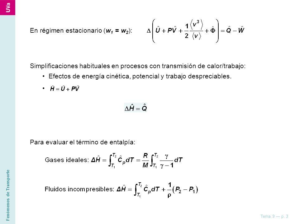 En régimen estacionario (w1 = w2):