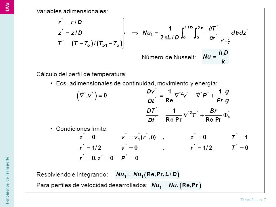 Variables adimensionales: