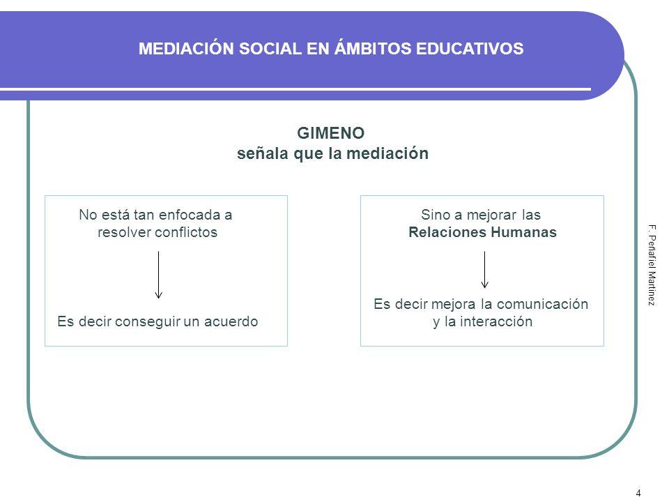 MEDIACIÓN SOCIAL EN ÁMBITOS EDUCATIVOS señala que la mediación