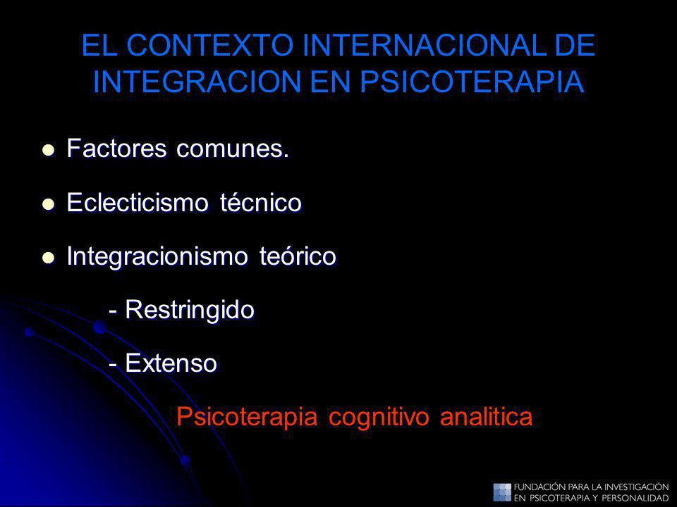 EL CONTEXTO INTERNACIONAL DE INTEGRACION EN PSICOTERAPIA
