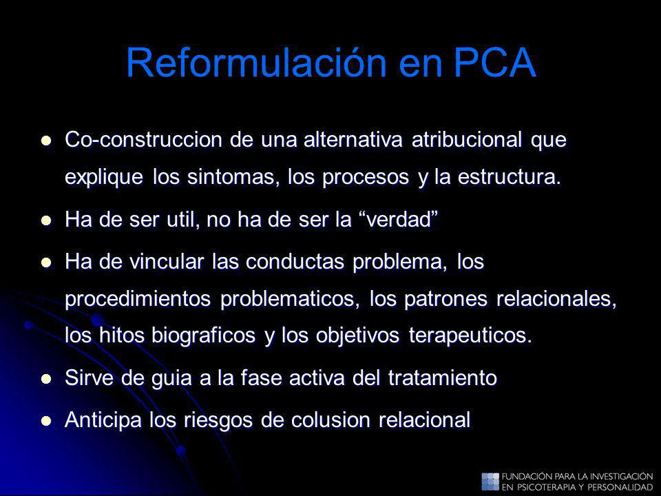 Reformulación en PCA Co-construccion de una alternativa atribucional que explique los sintomas, los procesos y la estructura.