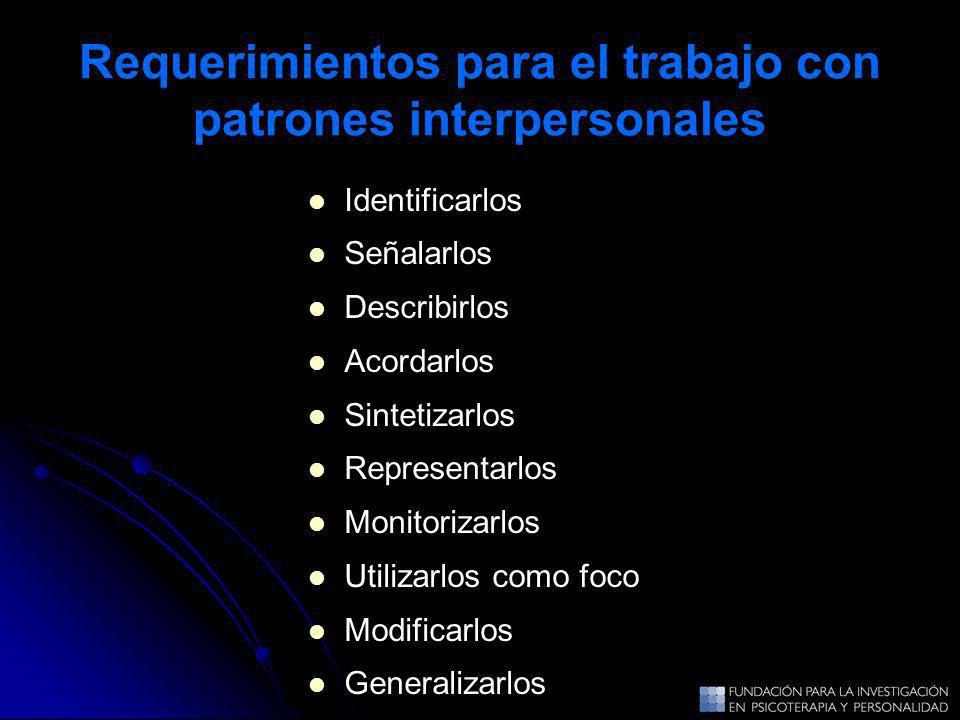 Requerimientos para el trabajo con patrones interpersonales