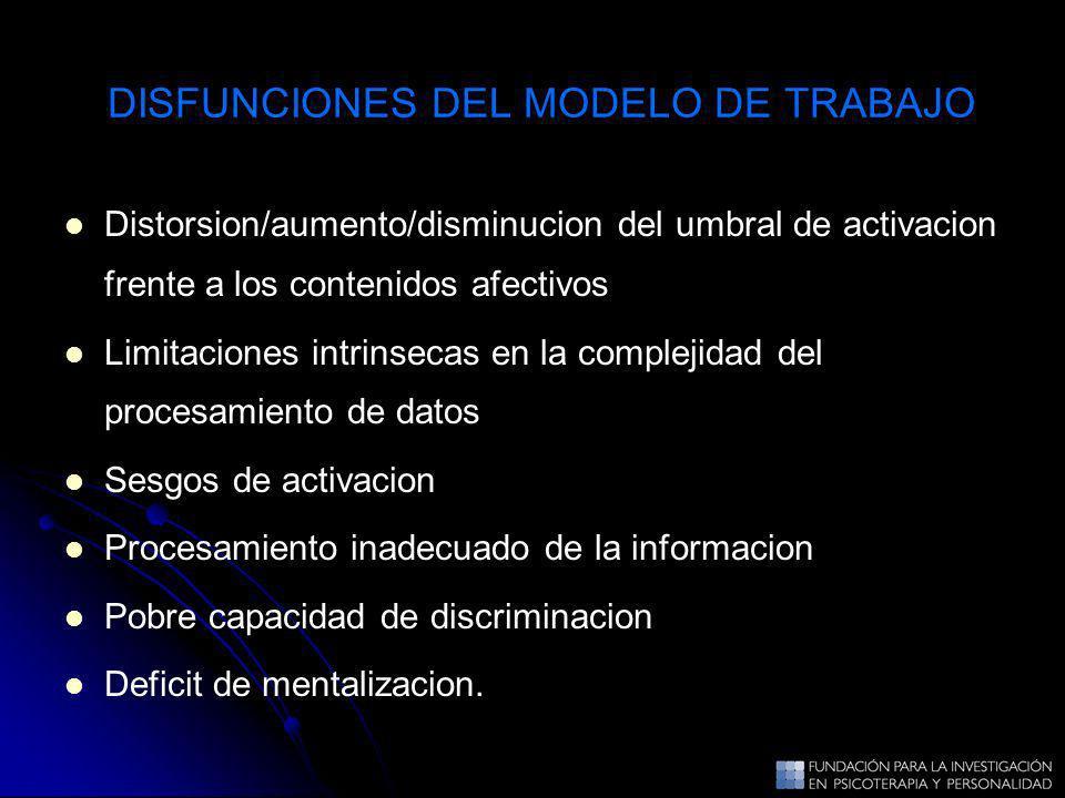 DISFUNCIONES DEL MODELO DE TRABAJO