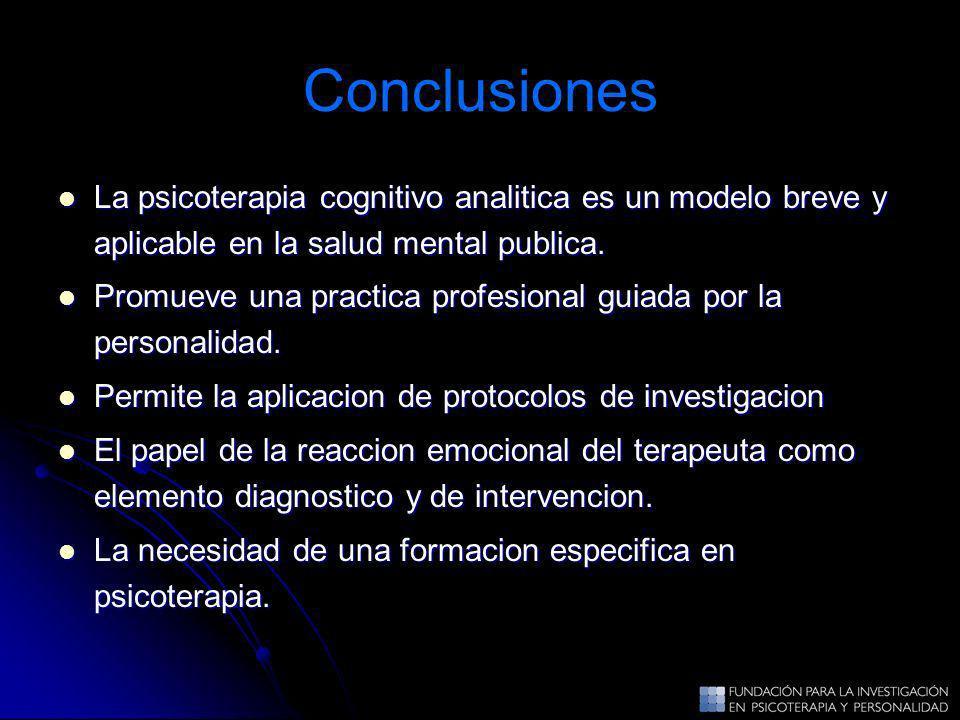 Conclusiones La psicoterapia cognitivo analitica es un modelo breve y aplicable en la salud mental publica.