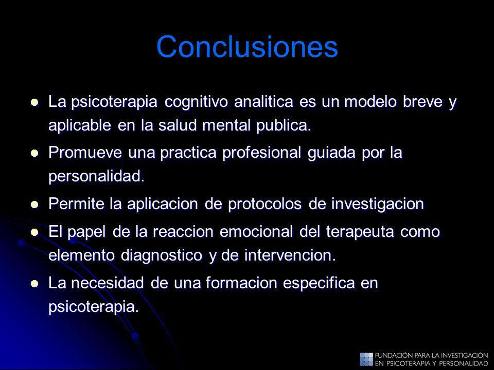 ConclusionesLa psicoterapia cognitivo analitica es un modelo breve y aplicable en la salud mental publica.