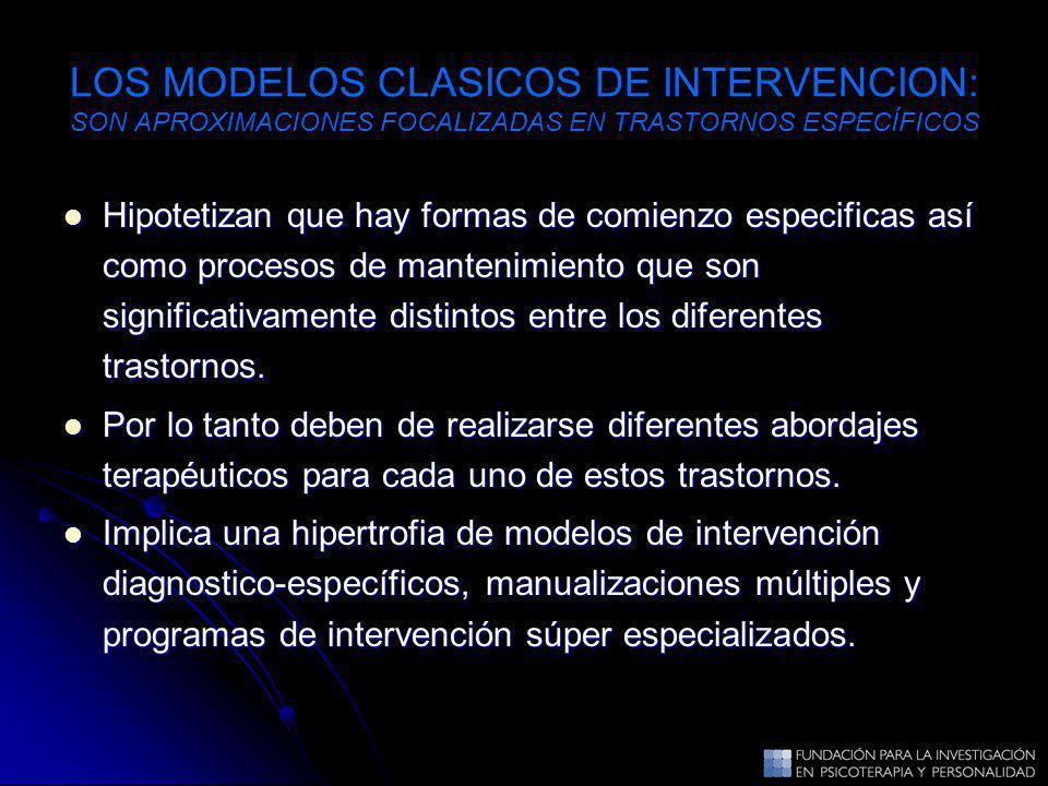 LOS MODELOS CLASICOS DE INTERVENCION: SON APROXIMACIONES FOCALIZADAS EN TRASTORNOS ESPECÍFICOS