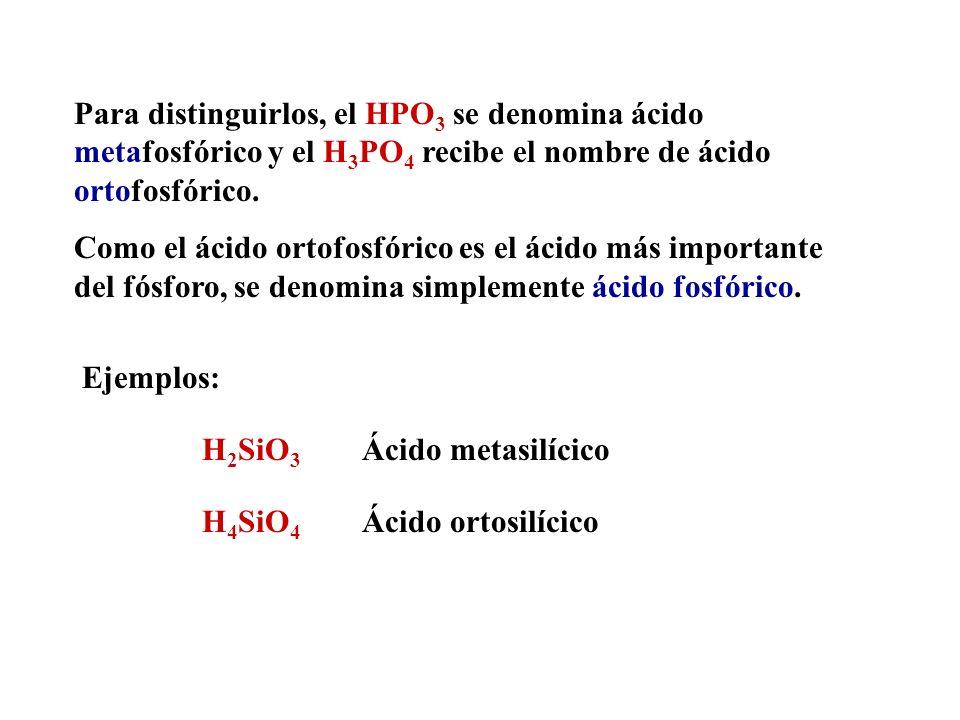 Para distinguirlos, el HPO3 se denomina ácido metafosfórico y el H3PO4 recibe el nombre de ácido ortofosfórico.