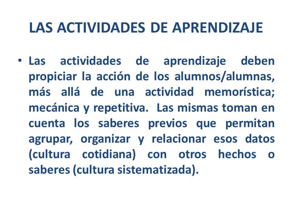 LAS ACTIVIDADES DE APRENDIZAJE