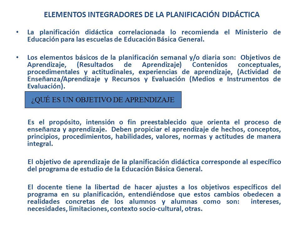 Elementos Integradores de la Planificación Didáctica