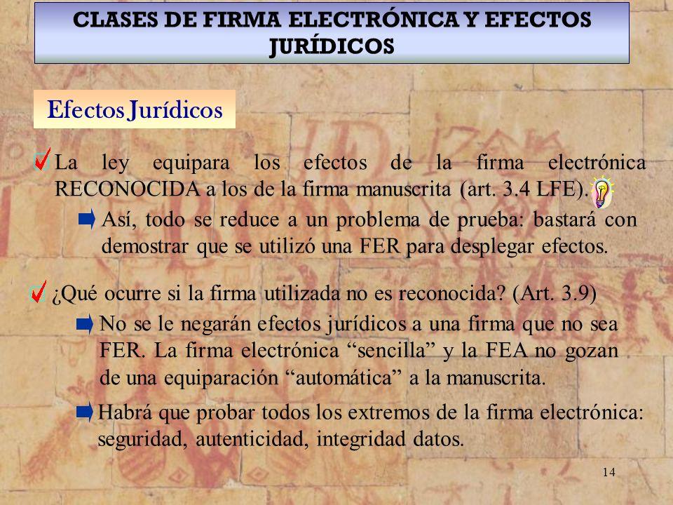 CLASES DE FIRMA ELECTRÓNICA Y EFECTOS JURÍDICOS
